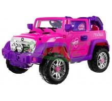 Auto dla dzieci wzorowane na JEEP+ pilot +bagażnik + muzyka + amortyzatory - kolor różowy